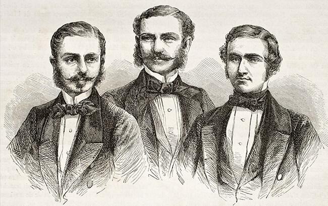 drawing of 3 gentlemen